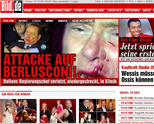 berlusconi aggressione giornali stranieri