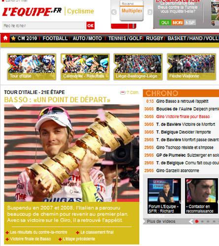vittoria basso giro d'italia 2010 rassegna stampa