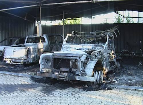 macchine incendiate protezione civile varese