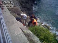 Frana alle Cinque Terre sulla Via dell'Amore (inserita in galleria)