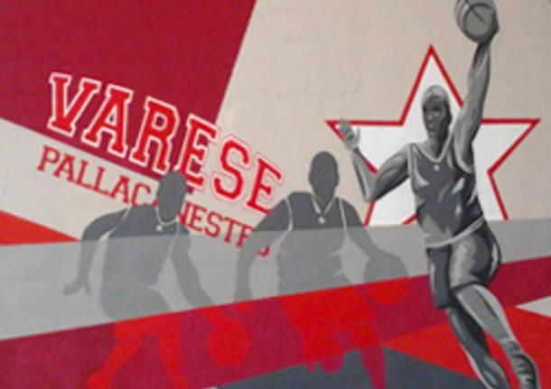 murales palazzetto palawhirlpool masnago pallacanestro varese apertura basket consorzio nel cuore