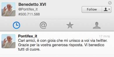 Il primo tweet del Papa, in tutte le lingue (inserita in galleria)