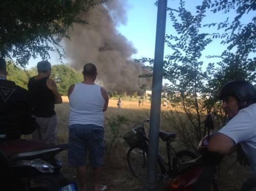 incendio capannone busto arsizio sud - villa cortese