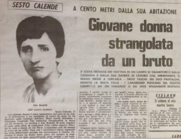 Gli omicidi di Ada Budelli e Orietta Poppi nelle cronache dell'epoca (inserita in galleria)