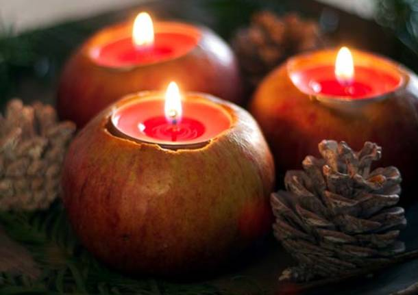 autunno halloween mele candela