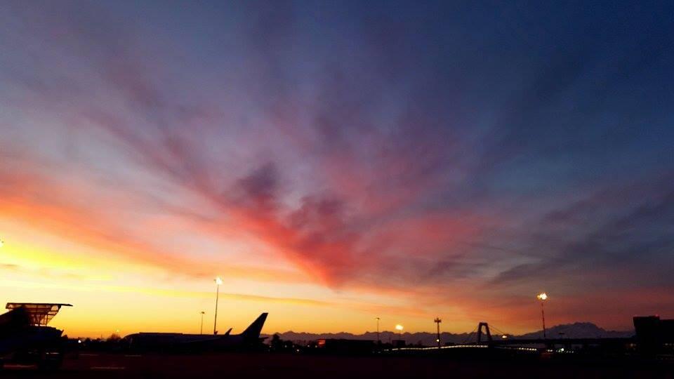 Il tramonto a Malpensa
