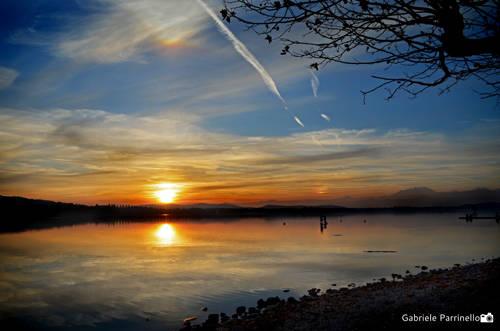 Tramonto sul lago di Varese (lido della Schiranna)