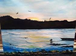 Il lago di Varese diventa un quadro (Foto fb di Alessia)