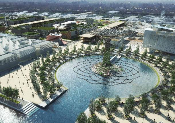 rendering lake arena e albero della vita expo2015