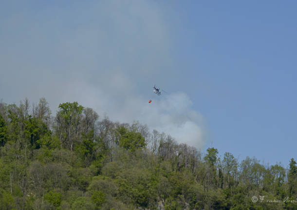 Incendio bosco Caravate Sangiano