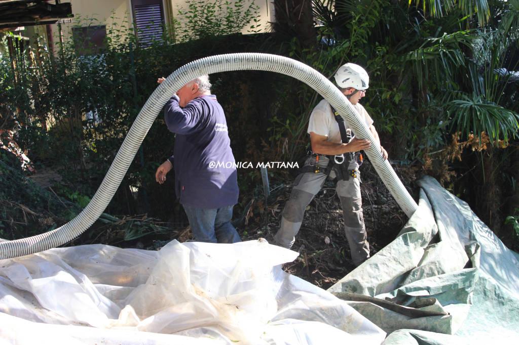 Laveno, protezione civile al lavoro in vista di nuove pioggie