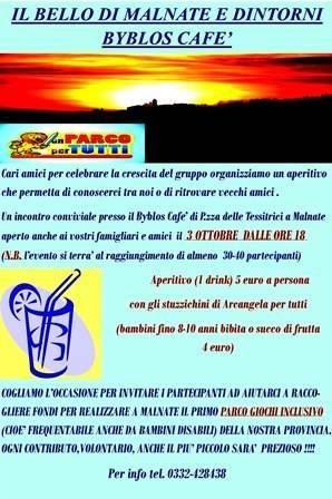 """Aperi-gruppo - evento per festeggiare il gruppo facebook \""""\"""" il bello di Malnate e dintorni \""""\"""""""