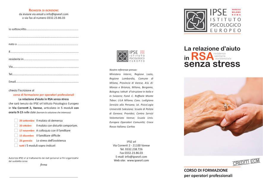 La relazione d\'aiuto in RSA senza stress - il malato di demenza