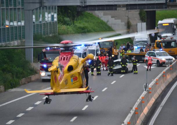 L'eliosoccorso in autostrada