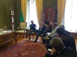 Roberto Maroni incontra il Sindaco Fontana e il vescovo Agnesi
