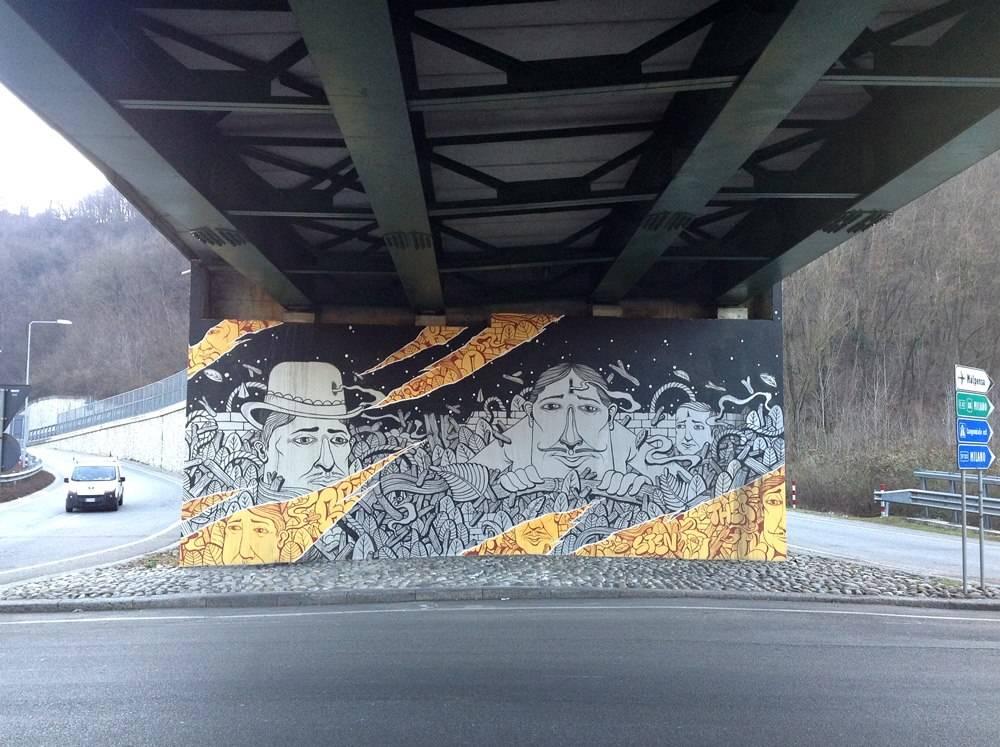 Il disegno di Sea Creative al sottopasso di Viale Belforte