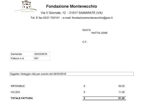 fattura Villa Montevecchio