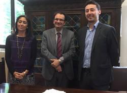 Presentazione agone nazionale: il dirigente Consolo con la docente Criscuolo e l'assessore Longhini