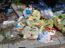 Immondizia nella piazza di Castronno