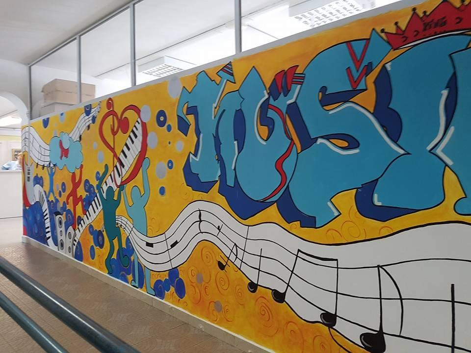 I murales realizzati dai ragazzi alla scuola Galilei