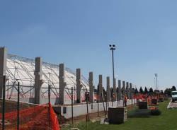 I lavori al campo sportivo di Venegono Superiore