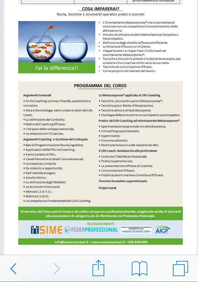 Presentazione della Scuola di Life Coach Metacorporeo a Varese