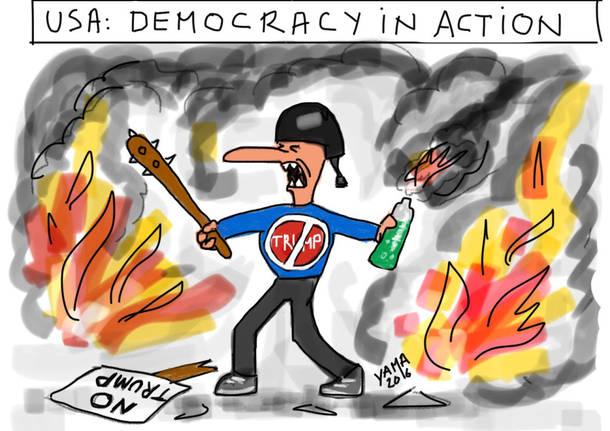 vignetta pierre ley proteste contro trump
