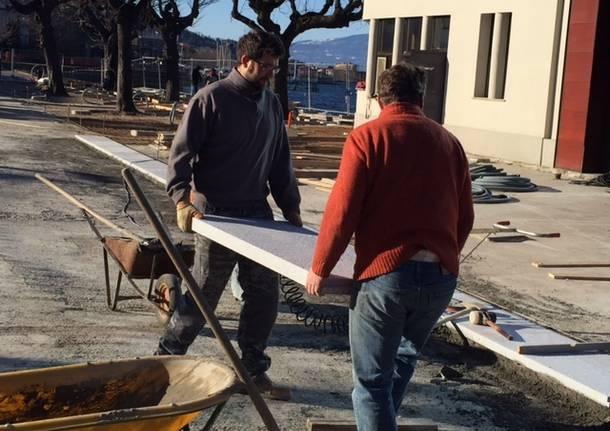 I lavori alla piazza dell'imbarcadero
