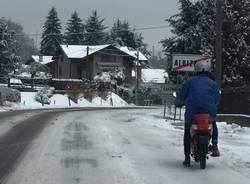 Neve sulla gallaratese tra Castronno, Albizzate e Cavaria