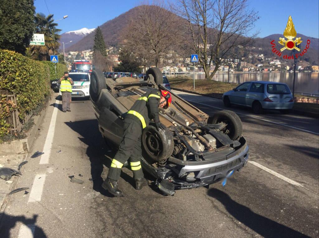 Lavena Ponte Tresa - ribaltamento sp61 15-2-2017
