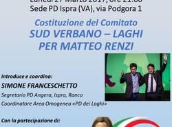 """COSTITUZIONE DEL COMITATO """"SUD VERBANO-LAGHI"""" PER MATTEO RENZI"""