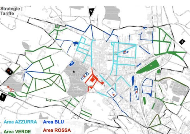 Le zone del piano sosta a Varese