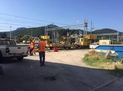 Luino, il cantiere ferroviario