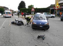 scontro auto moto biandronno