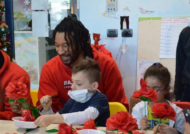 La Pallacanestro Varese in visita alla pediatria