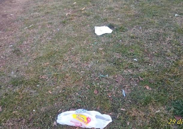 Parco di Bizzozero sporco, rifiuti