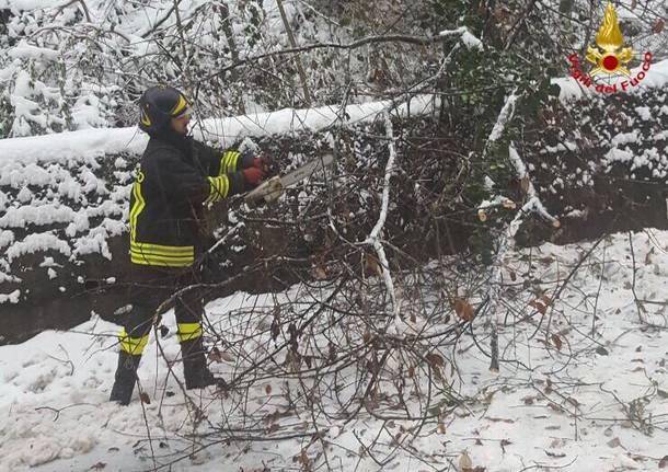 Neve sul varesotto, Vigili del Fuoco al lavoro