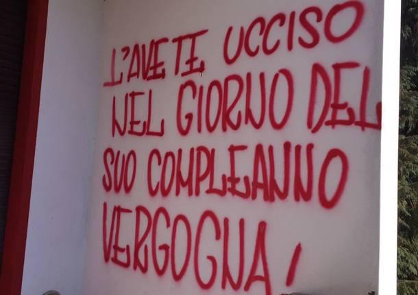 """Scritte rosse al Franco Ossola contro """"chi ha fatto morire il Varese"""""""