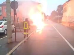 Cavo elettrico in fiamme  a Cassano Magnago