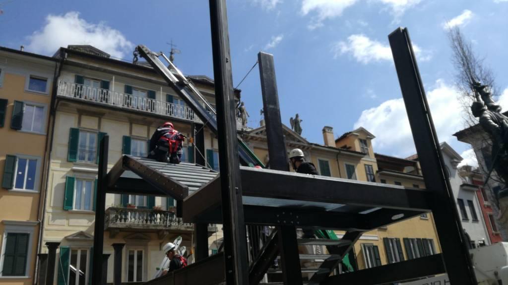 Varese design week: lavori in corso in piazza Podestà