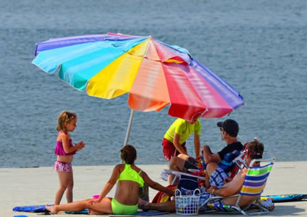 famiglia ombrellone