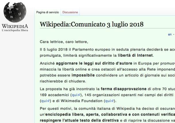 Auguri Di Natale Wikipedia.Wikipedia Oscurata Contro La Legge Europea Sul Copyright
