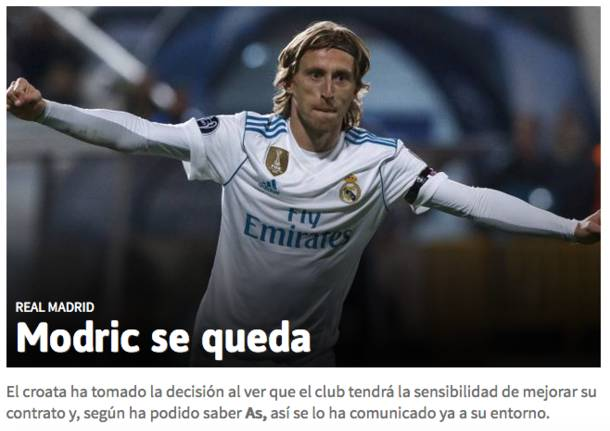 Luka Modric, Inter addio. Per i quotidiano spagnoli resta a Madrid