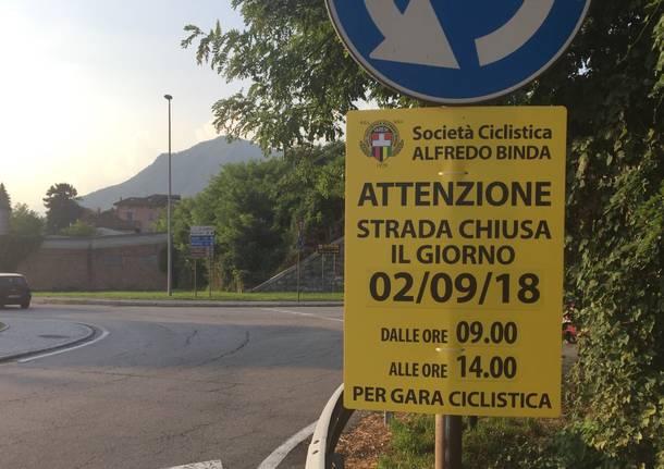 cartello segnalazione Mondiali gran fondo ciclismo 2018