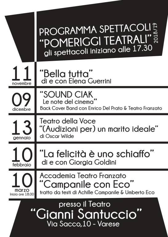 BELLA TUTTA spettacolo di e con Elena Guerrini apre i Pomeriggi Teatrali diretti da Paolo Franzato