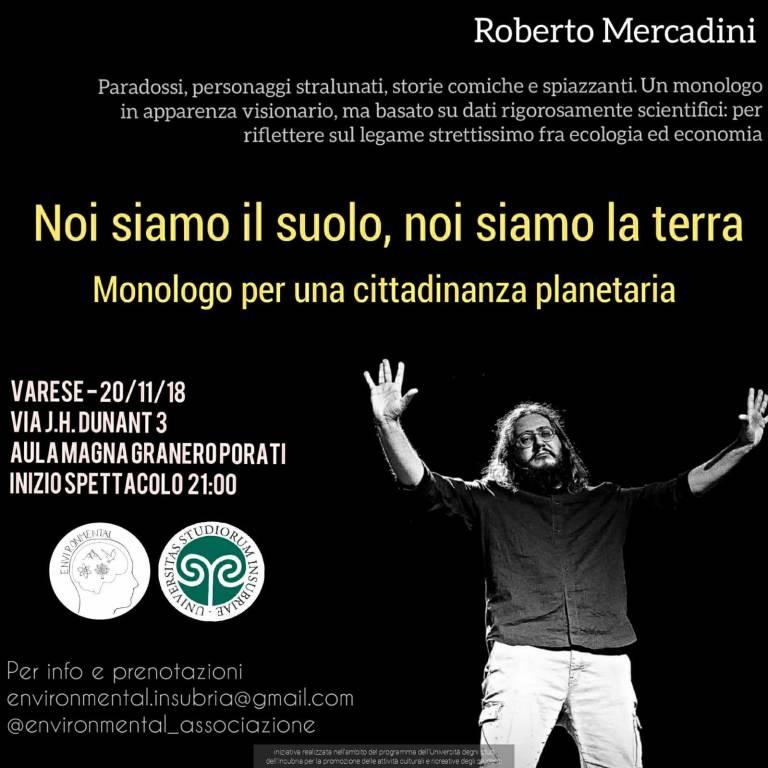 """EnvironMental: Roberto Mercadini in \""""Noi siamo il suolo, noi siamo la Terra\"""""""