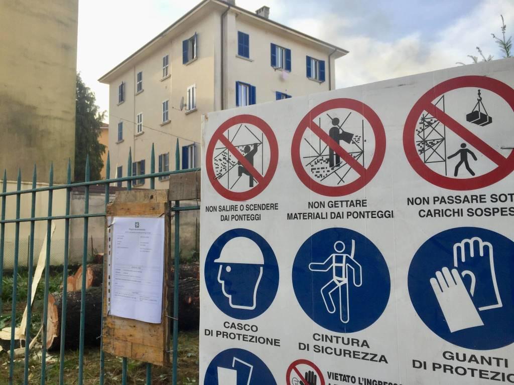 Cominciano dal taglio piante i lavori del parcheggio Del Ponte
