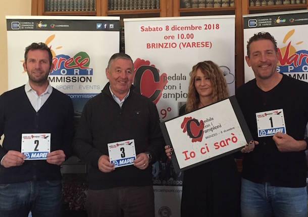 presentazione pedala con i campioni ciclismo 2018