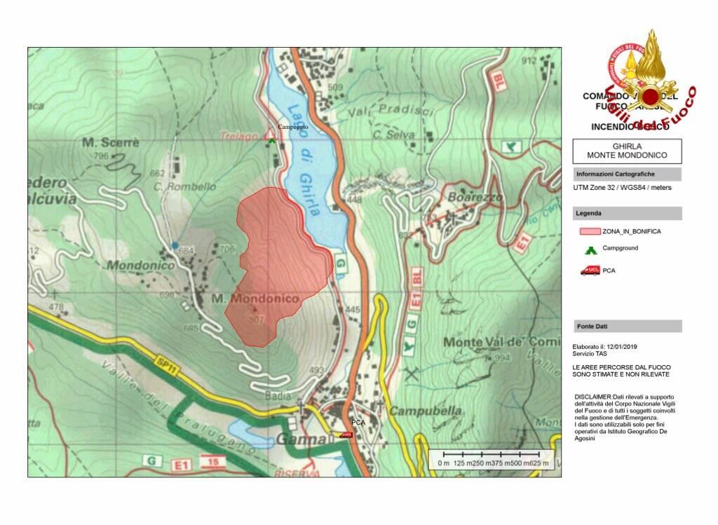 cartina del rogo sul Mondonico