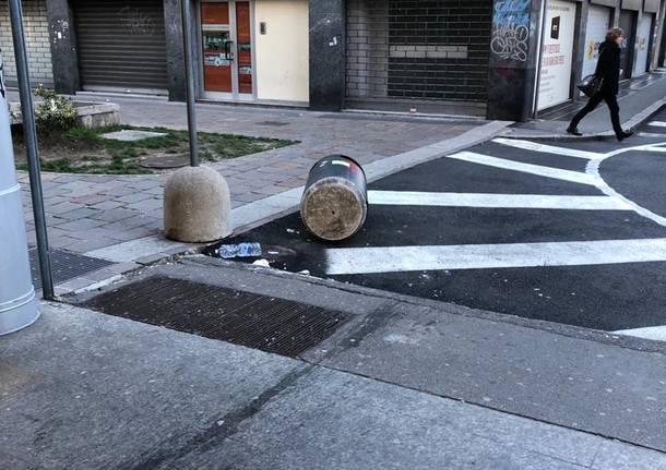 Atti vandalici in via Milano a Busto 2 marzo 2019